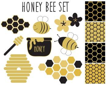 Honeybee Clipart, Black, Gold, Honeybee Set #077
