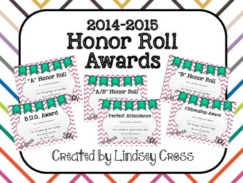 Honor Roll Award Certificates 2014-2015