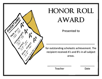 Honor Roll Award Template
