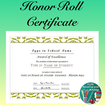 Honor Roll Award Certificate