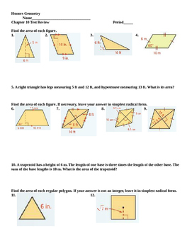 Honors Geometry: Chapter 10: Area Review and Test
