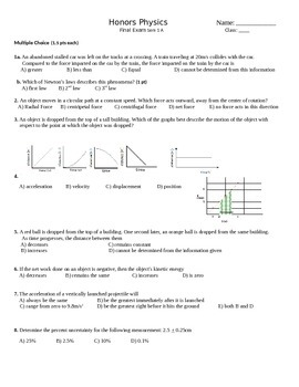 Honors physics semester 1 final exam