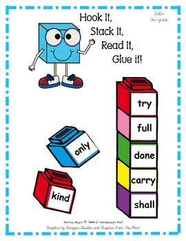 Hook It, Stack It, Read It, Glue It!   Dolch 3rd Grade