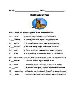 Hoot Vocabulary Test