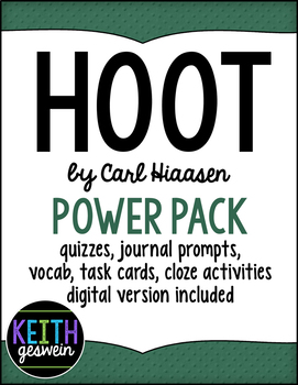 Hoot Power Pack: Quizzes, Prompts, Vocab, Task Cards, Cloze Activities