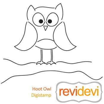 Hoot owl (digital stamp, coloring image) S052