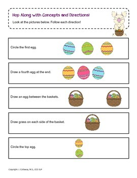 Hop Along with Concepts and Following Directions ~ Easter