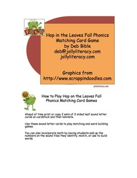 Hop in the Leaves Fall Card Matching Game for Phonics