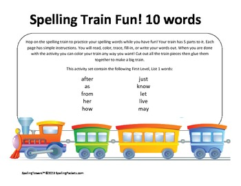 Hop on the Dolch Word Train Set:All words plus nouns - 170