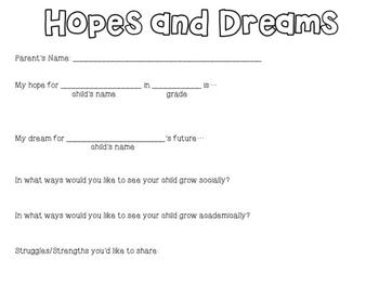 Hopes and Dreams Parent Form