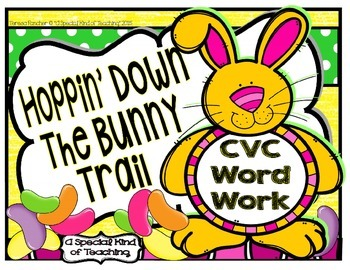 Hoppin' Down the Bunny Trail~ CVC Word Work {Cards, Letter