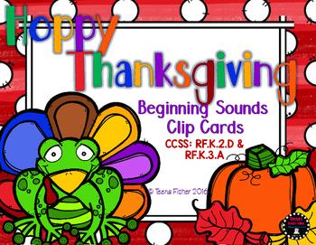 Hoppy Thanksgiving Beginning Sounds Clip Cards Kindergarte