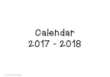 Horizontal Calendar 2015 - 2016