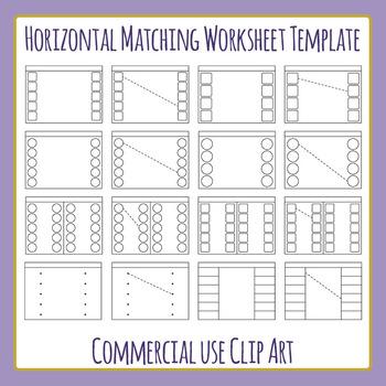 Horizontal Matching Worksheet Template / Layout Clip Art S