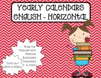 Horizontal Monthly Calendars - English