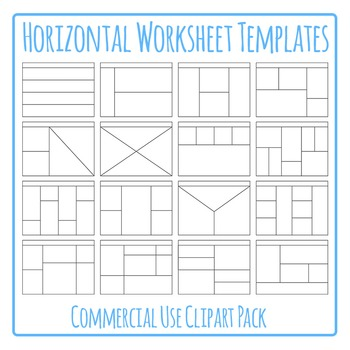 Horizontal Worksheet Templates / Layouts Clip Art Pack for