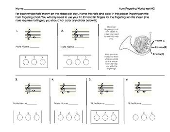 Horn Fingering Worksheet 2 for Band Beginners