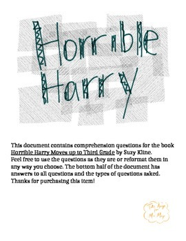 Horrible Harry Moves up to Third Grade Comprehension Questions