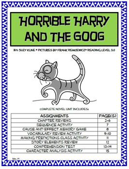Horrible Harry and The Goog Novel Unit