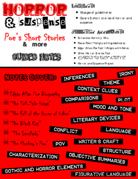 Horror & Suspense Guided Notes (Common Core)