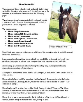 Horse Bucket List Activity