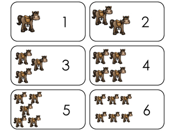 Horse Counting Printable Flashcards. Preschool- Kindergart