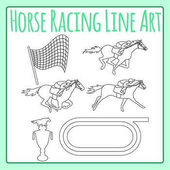 Horse Racing Derby Black and White Line Art / Clip Art for