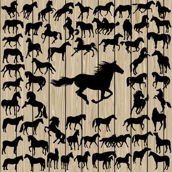 Horse silhouette digital clipart