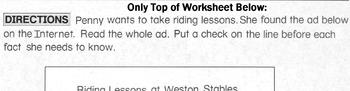 Horses: Reading Horse Riding Ad - Finding Important / Unim