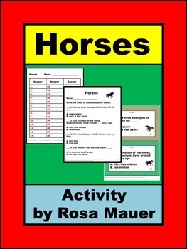 Horses Science Task Cards and Worksheet