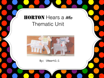 """""""Horton Hears a Who"""" Thematic Unit (QR code Word-Wall Cards)"""