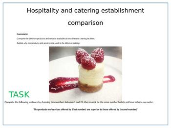 Hospitality & catering establisment comparison excercise/