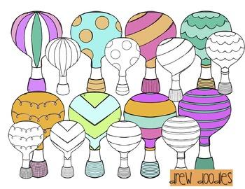 Hot Air Balloon Digital Clip Art Set- Color and Black Line Combo