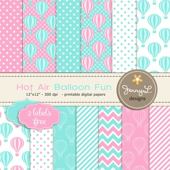 Hot Air Balloon Digital Papers, Pink and Blue Turquiose