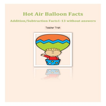 Hot Air Balloon Math Facts