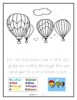FREE DOWNLOAD Hot Air Balloons Drawing - Color by Numbers