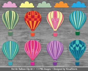 Hot Air Balloon Clip Art, 8 Colorful Balloons and 4 Cloud