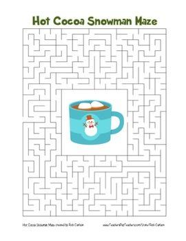 """Hot Cocoa Snowman"" Maze! Holiday FUN! (Color and Black Line)"