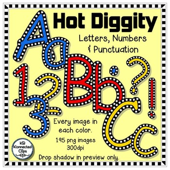 Hot Diggity - Check Outlined Letters and Numbers - Red, Bl