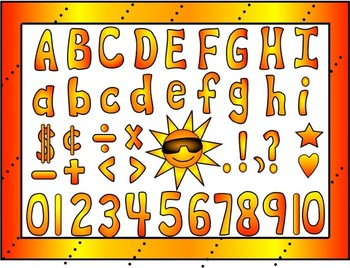 Hot Hot Hot Colors: Capital, Lower Case, Numbers and Symbo