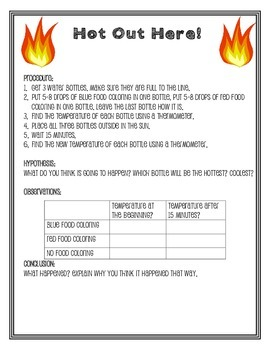 Hot Out Here - Heat Experiment and Lab Sheet