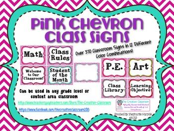 Hot Pink Chevron EDITABLE Classroom Signs