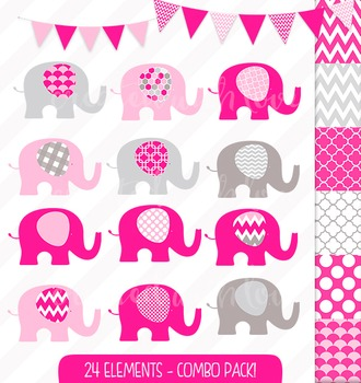 Hot Pink Elephant and Bunting Clip Art Combo with Digital Papers