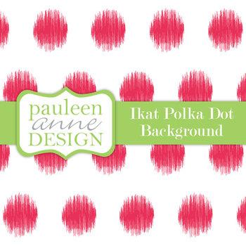 Hot Pink Ikat Polka Dot Background