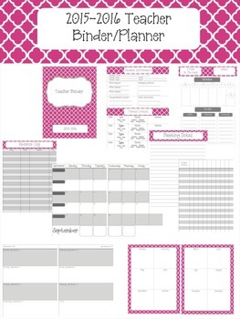 Hot Pink Quatrefoil 2015-2016 Teacher Binder Planner