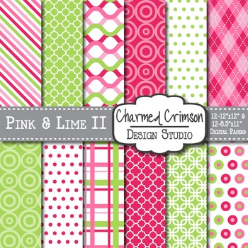 Hot Pink and Lime Medley Digital Paper 1172