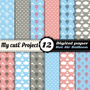 Hot air balloon Digital paper with clouds and polka dots -