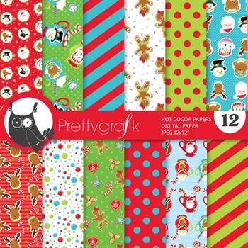 Hot cocoa christmas digital paper, commercial use, scrapbo