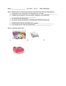 Hotel items vocabulary quiz