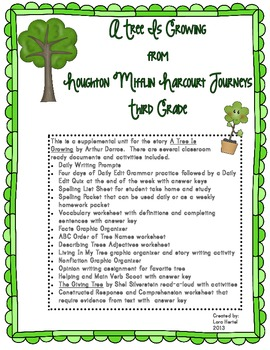 Houghton Mifflin Harcourt Journeys 2014 Grade Three A Tree